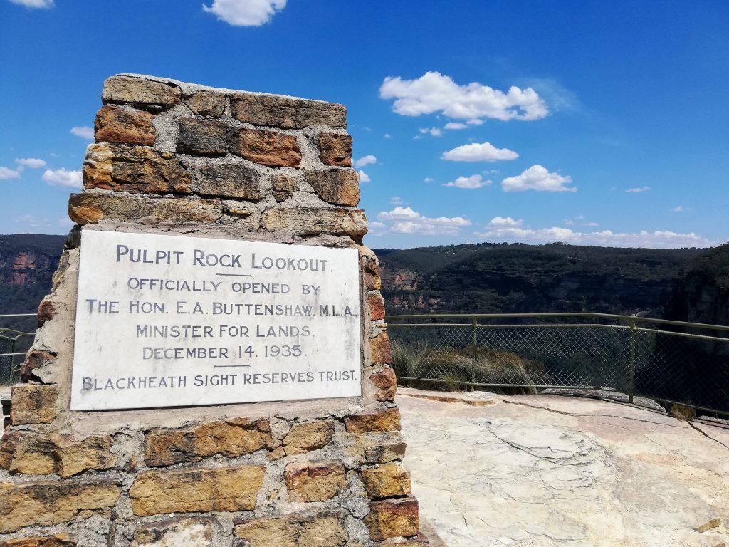 tabliczka na Pulpit Rock